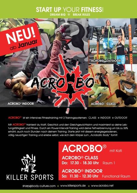 Acrobo(R) – intensives Fitnesstraining mit drei Trainingssystemen